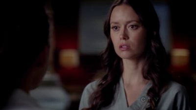 Summer Glau as nurse Emily Kovach in Grey's Anatomy 8.17 'One Step Too Far'.