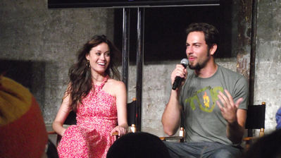 Summer Glau and Zachary Levi at the Nerd HQ panel at San Diego Comic Con on July 13, 2012