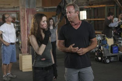 Summer Glau on set of TSCC with stunt coordinator Joel Kramer