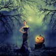 Summer Glau and the angry pumpkin