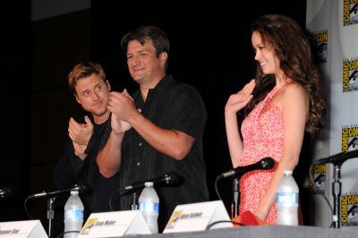 Alan Tudyk, Natahn Fillion and Summer Glau at the Firefly 10th anniversary panel at Comic Con 2012