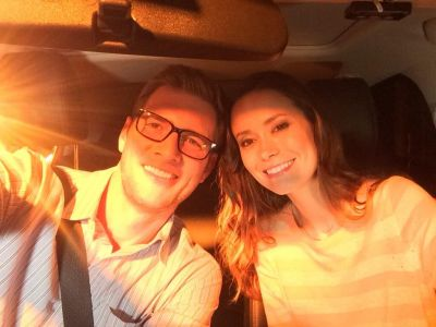 Ryan McPartlin and Summer Glau on set of Sequestered