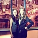 Summer Glau and Celina Jade on set of Arrow