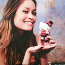 Summer Glau holding Hello Kitty plush toy