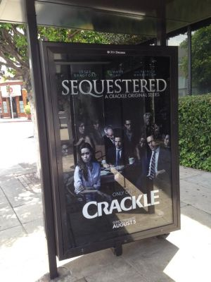 advertisement for Sequestered on a bus stop