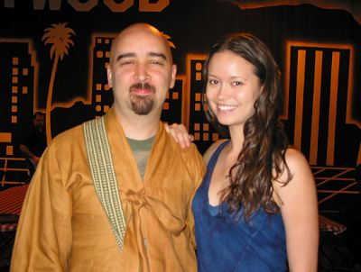 Summer Glau on set of Serenity