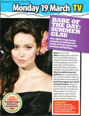 Summer Glau in the 'Babe of the Day' section of Zoo magazine