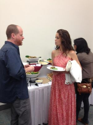 Josh Whedon and Summer Glau backstage at SDCC 2012
