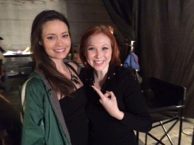 Summer Glau and Molly Quinn on set of Castle