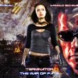 Terminator art featuring Summer Glau and Arnold Schwarzenegger